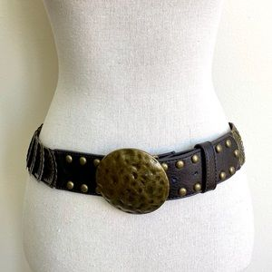 NWT BOHO DISC LEATHER BELT SIZE L/XL